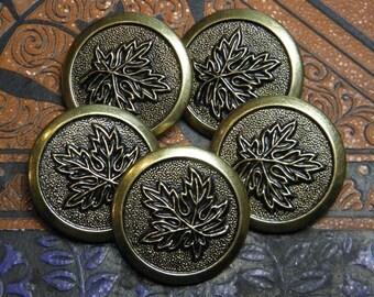 Vintage Metal Leaf Buttons Set of 5