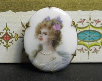 Antique Porcelain Pin Brooch Woman