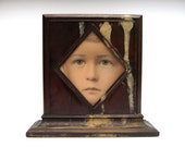 best turn of the century century hand colored photograph portrait fragment little boy 1900s primitive folk art early mahogany veneer frame