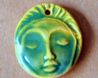 1 Handmade Ceramic Bead - Light and Bright Meditation Face Bead - available in Spring Green, Blue or Magenta - Yoga Jewelry