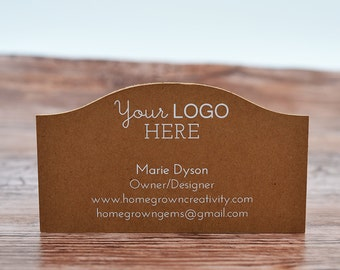 70 - WHITE PRINT - Business Cards Curved Top - Customized with your Logo and Text | DS0124