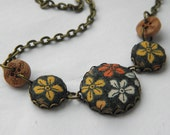 Mustard Flowers, Fabric Covered Button Necklace