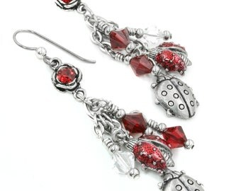 Ladybug Earrings, Red Crystal Earrings, Red Ladybugs, Silver Ladybugs, Red Enamel Lady Bugs