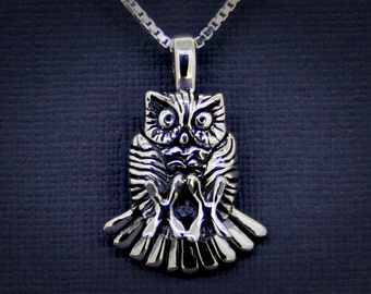 Great Horned Owl Necklace with Chain in Sterling Silver