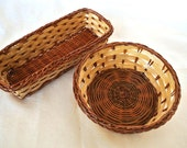 2 Baskets made of straw- for children play, crafts, nature table, home decoration and supplies