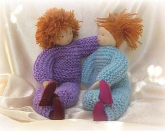 Boy and girl friendship-blessing card-print of my knitted Waldorf dolls-Children's art-nursery art-Waldorf arts