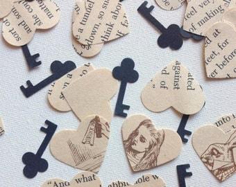 Vintage Alice In Wonderland Hearts with Keys  confetti party decor wedding decor favor
