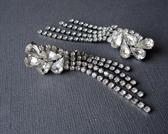 Drippy Rhinestone Climber Fringe Earrings Chain Dangle Clip Back Formal Wedding Bridal Ballroom Pageant Vintage Costume Jewelry Accessory