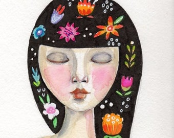 Whimsical Girl Painting, Flowers in her hair, Original Watercolor painting, Flowers, Home decor, original art, small painting