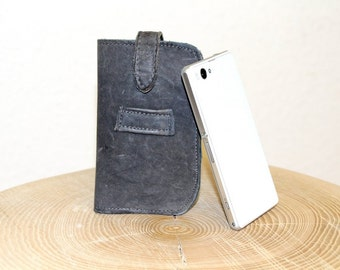 Gray Leather Cellphone Case - Cell Phone Cover - fits many Small Mobile Phones - Bavarian Lederhosen - Recycled Leather Cover