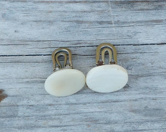 Vintage Antique 1900/1920 old French mother of shell round chain cuff links