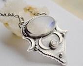 ON SALE Boho Style Moonstone Necklace, Topaz Gemstone Necklace, Sterling Silver Necklace, Crescent Moon Necklace, Artisan Metalwork Necklace