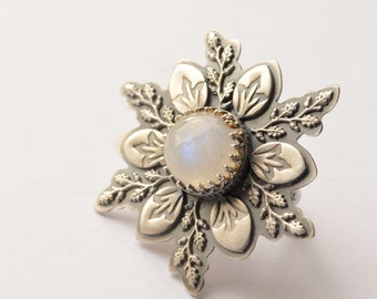 Silver Moonstone Flower Ring with Textured Details, Made to Order in Your Size