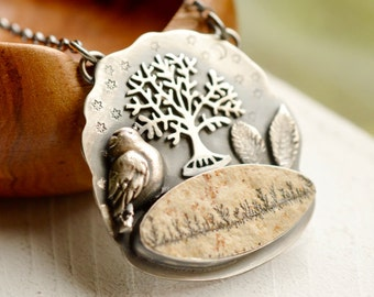 Woodland Necklace, Limestone Dendritic Manganese Necklace, Nature Inspired Silver Necklace, Bird Jewelry, Bird Necklace, Tree Of Life