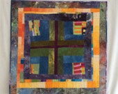 Improvisational Mini Quilt - original Art Wall Hanging quilted Modern