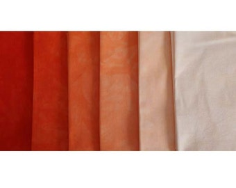 muted ORANGE RED Shades - hand dyed Fabric - 6 pc Fat Quarter Gradation Bundle - Tuscan Rose MOR471