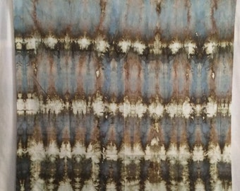 Agate Olive Blue Lines -1 yard HAND DYED FABRIC -  Modern Shibori Cotton - tr164