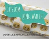 Custom Handmade Vinyl Long Wallet, zipper wallet, custom wallet, coin purse, large wallet, clutch, dear sukie, unique, gift, zip, snap