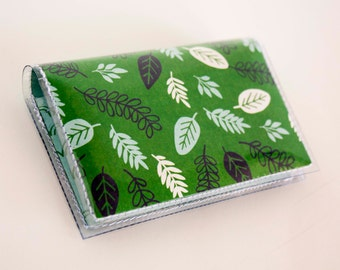 Handmade Vinyl Card Holder - Foliage / card case, vinyl wallet, snap, women's wallet, small wallet, leaves, ducks, green, geese, goose