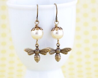 Gift For Women - Bee Earrings - Pale Gold Pearl Earrings - Bumble Bee - Nature Jewelry - Dangle Earrings - Bee Jewelry - gift For Woman