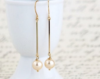 Gift For Women - Gold Pearl Dangle Earrings - Gold Pearl Earrings - Pearl Earrings - Long Gold Earrings - Elegant Earrings - Sophisticated