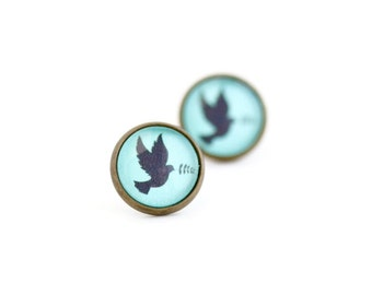 Song Bird Earrings - Stud Earrings - Post Earrings - Gift For Mother - Bird Jewelry - Mama Bird Earrings - Gift For Her - Turquoise Earrings