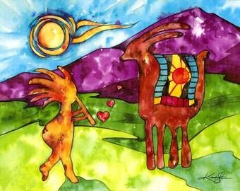 "Southwest Kokopelli Art, Large Giclee Canvas Landscape Art Print from Original watercolor ""Friends"" by Kathy Morton Stanion  EBSQ"