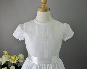Irish Linen Girls First Communion Dress - Olivia
