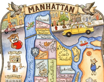 "Manhattan New York City Map Art Print 8"" x 10"""