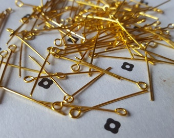 """1"""" Gold plated Eyepins (100)"""