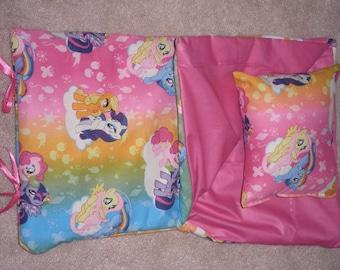 Handmade Sleeping Bag (Hot Pink Pony) fits 18 inch Doll Like American Girl