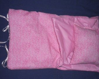 Handmade Sleeping Bag (Pink with White Design) fits 18 inch Doll Like American Girl