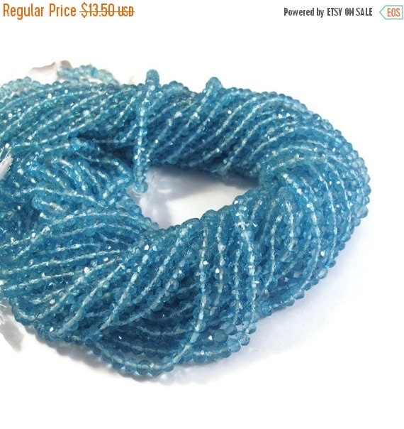 May SALE Blue Topaz Quartz Rondelles, 13 Inch Strand, Faceted Gemstone Beads, Necklace Rondelles, Swiss Blue Topaz Substitute (R-Lb2)