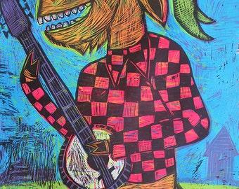 Banjo Goat Multi block Color Woodcut