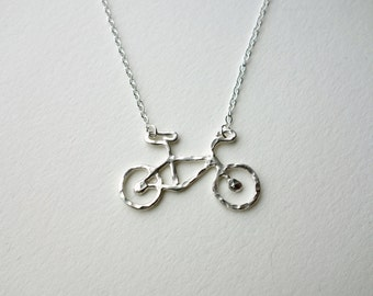 Back Order- Le Very Petit  Sterling Silver Bike Necklace