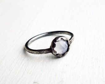 Oxidized Scalloped Chalcedony Ring
