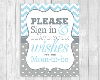 Please Sign In And Leave Your Wishes 5x7, 8x10 Printable Mom To Be