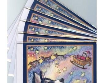 6 x Siberian Husky Hund Weihnachten Urlaub Xmas Saison Grüße Sibes Schlittenhunden Santa Karten Schlitten von Susan Alison Aquarell Malerei