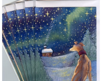 6 greyhound whippet lurcher sighthound dog Christmas holiday cards snowy landscape season's greetings from Susan Alison watercolor painting