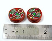 Pair of Handmade Polymer Clay Beads Cane Cross Section