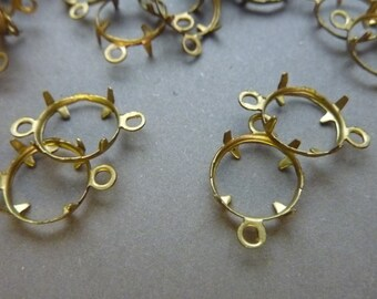 12 Brass Channel 8 mm Settings Connectors - Open Back