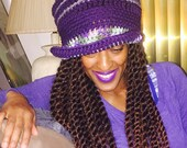 Funky Fall Cloche - Ready to Wear - Purple, Gray, purple & greens ombre