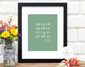 Valentine Gift for Wife, Mom Gift, Family Dates Print, Birth Dates Art Print, Family Birthday Personalized Dates Holiday, Important dates