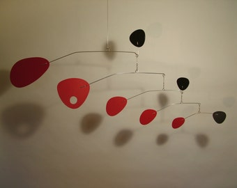 "Modernist Mobile M in any color Size 36""w x 16""h Calder Styled, Kinetic Hanging Art Mobile Any Material, Wood, Plastic, Metal"