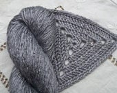 Silk Yarn - Hand Dyed Worsted weight - Shade: Quicksilver Gray