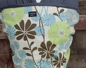 SUPER LIGHTWEIGHT Baby Sling Wrap Carrier-ORGANIC BAMBoO-Yellow and Blue Daisy on Gray-Newborn to Toddler-DvD Included