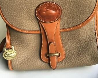 Vintage Dooney and Bourke Essex, Vintage Handbag, Dooney and Bourke, Mushroom Color, All Weather Leather, Cross Body Bag, Leather and Brass