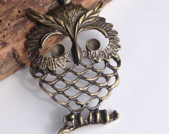 Antiqued Brass Owl Pendant, Owl, Jewelry Supplies