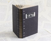 Grey Linen Coptic Bound Notebook with a Vintage Photo of Young Boys Having Fun