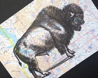 Bison Print on Montana Map - Buffalo Print - Bison Map Print - Western Decor - Buffalo Map Print